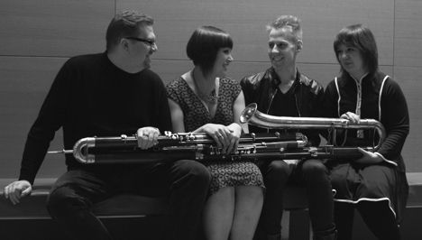 Hanging out with Maria...the contrabassoon. Photo by Victor Perelman.