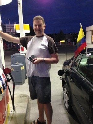 Graham filling up the car in Sudbury.