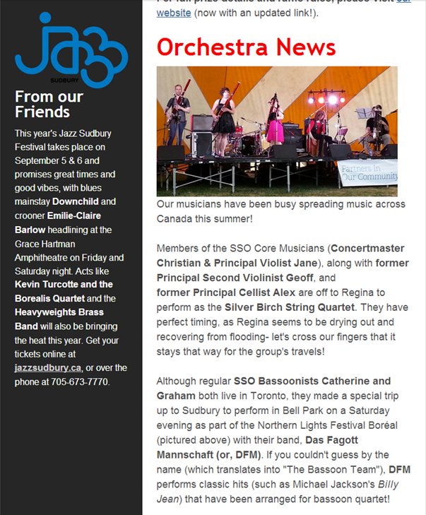 A shout out in the Summer 2014 edition of the Sudbury Symphony Newsletter.