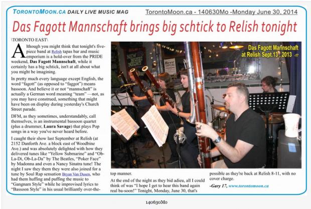 Article in Toronto Moon Magazine. June 30, 2014.